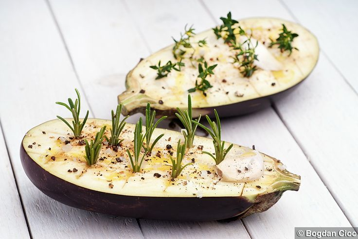 Aubergines with thyme and rosemary