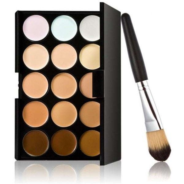 15 Colours Concealer Palette And Foundation Brush Multi ($5.62) ❤ liked on Polyvore featuring beauty products, makeup and palette makeup