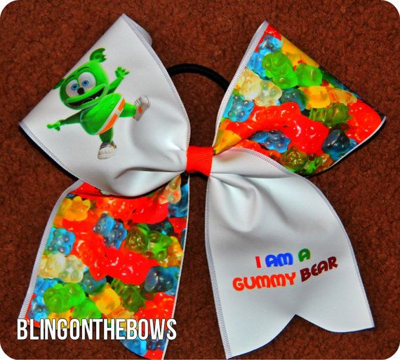 Cute GUMMY cheer Bear BOW by blingonthebowz on Etsy, $15.00