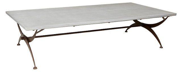 "Folding 72"" Coffee Table, Rust/Zinc"