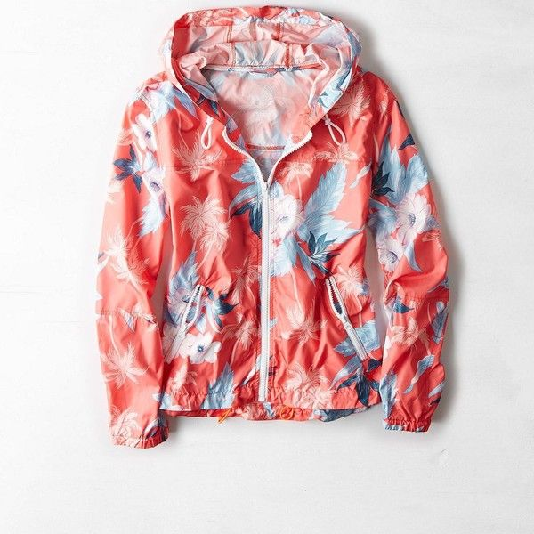 American Eagle Floral Hooded Windbreaker, Women's, Size: S, Coral