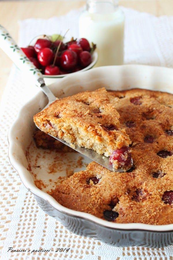 torta sofficissima vegana al cocco e ciliegie