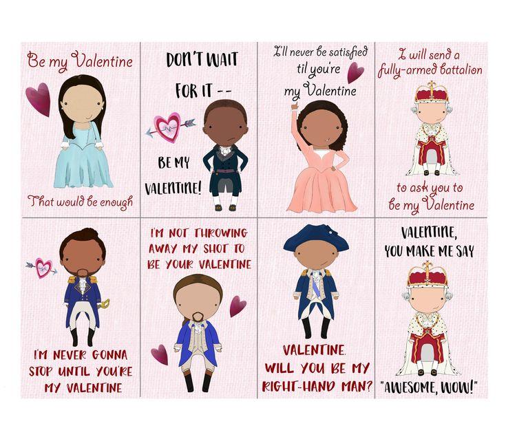 Kid-friendly Hamilton-inspired printable digital download Valentine Hamiltine cards by jentalleydesign on Etsy https://www.etsy.com/listing/511798349/kid-friendly-hamilton-inspired-printable