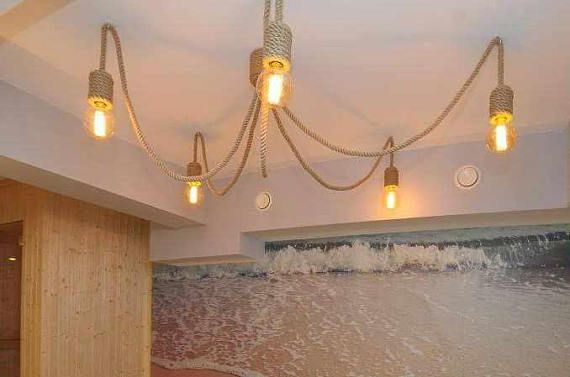 Jute long chandelier, pendant light, made from sailing rope, 200cm (~80), hanging light, works with 5 light bulbs (not included), perfect for beach house and nautical/marine or industrial/loft style apartments.
