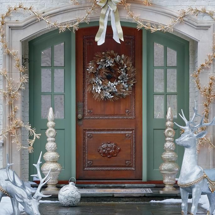 Sterling Grace Outdoor 34 Wreath Frontgate Christmas House Lights Front Door Christmas Decorations Outdoor Christmas Decorations