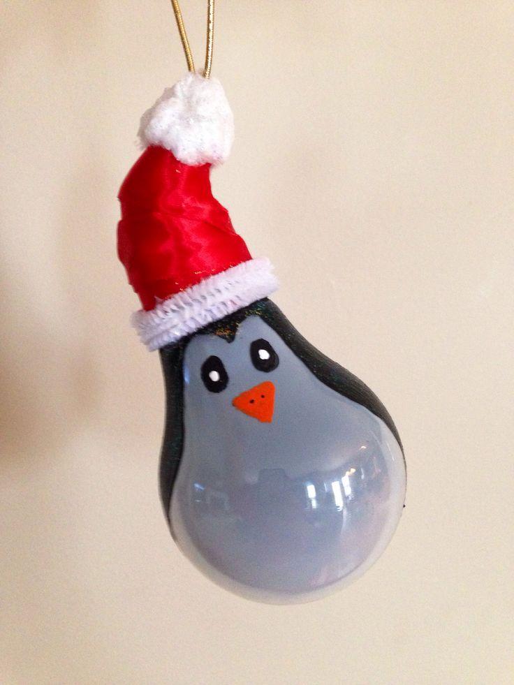 Lightbulb penguin ornament #diy #christmas #ornament