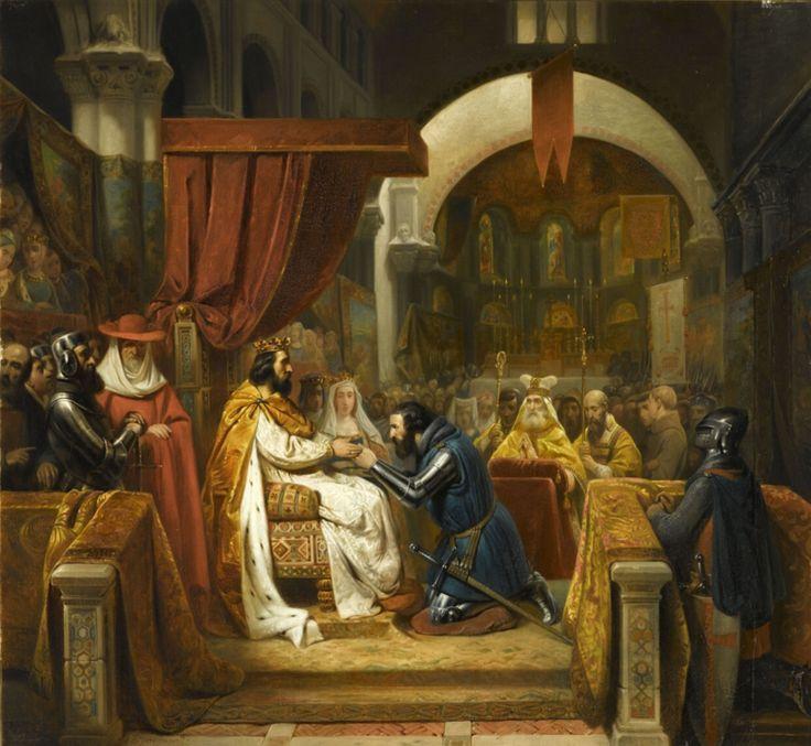 Henri de Bourgogne reçoit l'investiture du comté de Portugal, 1094 (Claude Jacquand, dit Claudius; 1841) - Henrique de Borgonha, conde de Portucale – Wikipédia, a enciclopédia livre