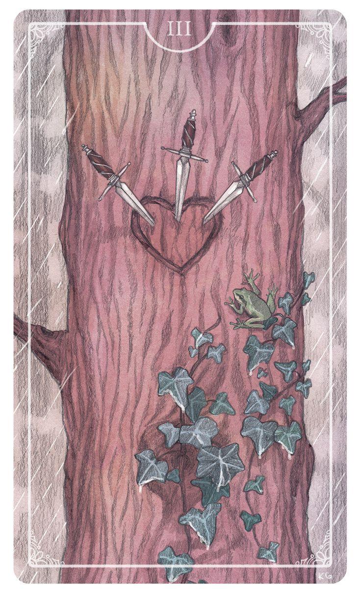 Three of Swords - Krista Gibbard For the upcoming Ostara Tarot Deck #tarotdeck…