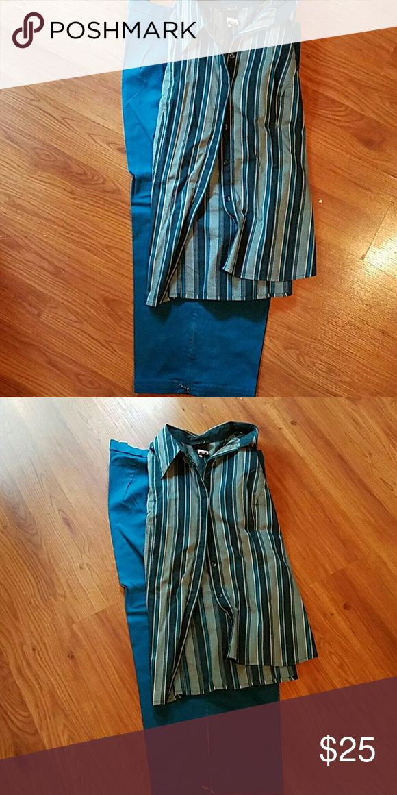 Teal Outfit Cute button down teal/green/white top from Lame Bryant paired with Teal Capris from Avenue clothing. Both pieces $25 total, both are in good used condition. Avenue  Pants Capris