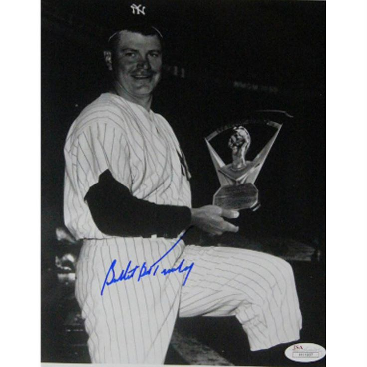 Bob Turley Signed Holding Cy Young Award BW 8x10 Vertical Photo (JSA)