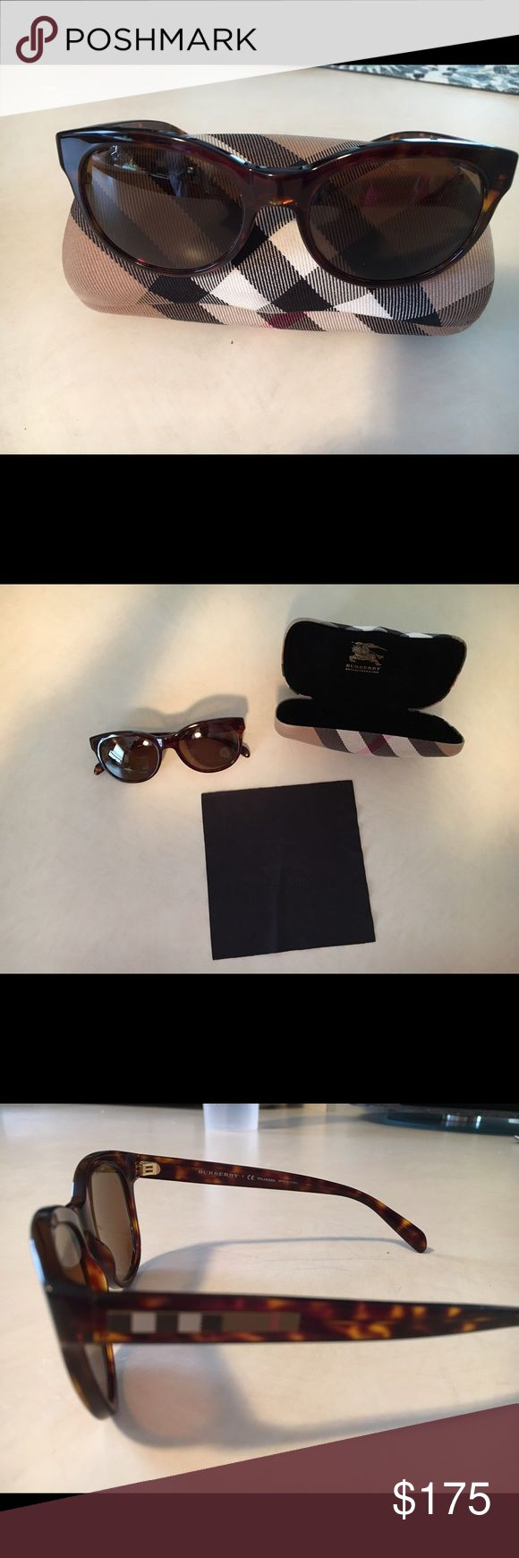 Burberry polarized sunglasses Burberry polarized sunglasses with case and cleaning cloth. Brown tortoise color. Brand new condition. Burberry Accessories Sunglasses