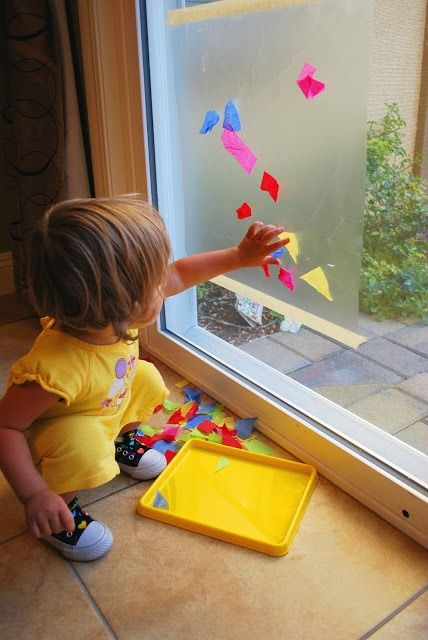 Contact Paper Art - Tissue Paper Sticky Window | Mess For Less Great idea for working on gross motor skills                                                                                                                                                      More