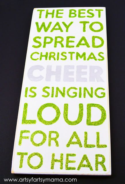 Christmas Cheer Subway style Sign at artsyfartsymama.com #christmas #MSHoliday - fun holiday DIY using Martha Stewart Crafts - click thru for the full tutorial