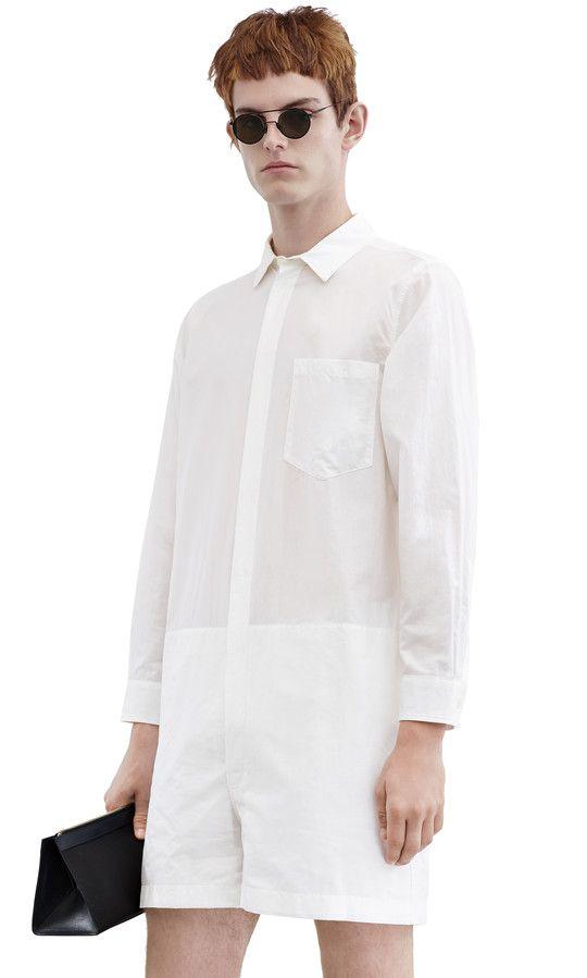 Scott long sleeve jumpsuit in cotton/silk blend #AcneStudios #SS16 #menswear