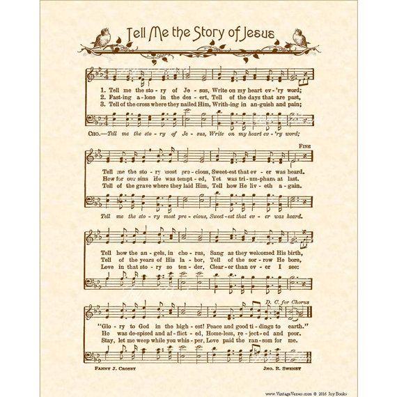 TELL ME The Story Of JESUS Hymn Art Custom Christian Home