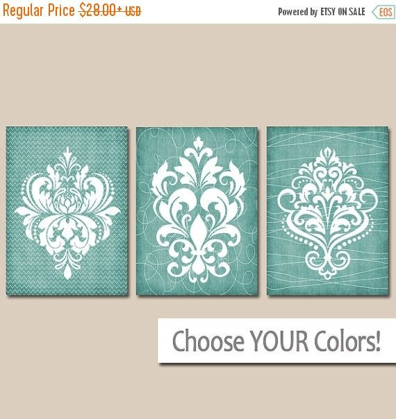 DAMASK BATHROOM Wall Art, CANVAS or Prints, Aqua Bathroom Pictures, Aqua Bedroom Artwork, French Country Design, Set of 3 Home Decor