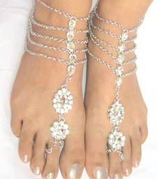 Buy SILVER  TONE KUNDAN CHAINS ANKLETS PAYAL PAIR with toe ring attached anklet online