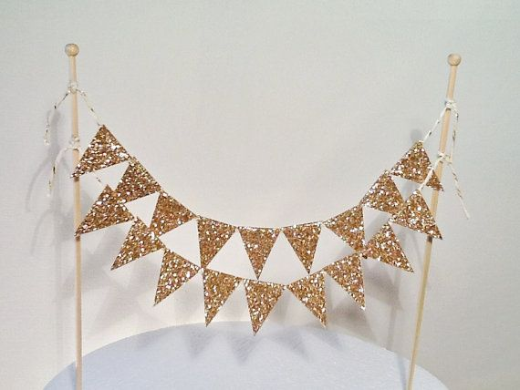 Cake Bunting/Cake Topper/Cake Banner. Gold Glitter Flags. Wedding - Engagement - Birthday - Sparkly Gold.