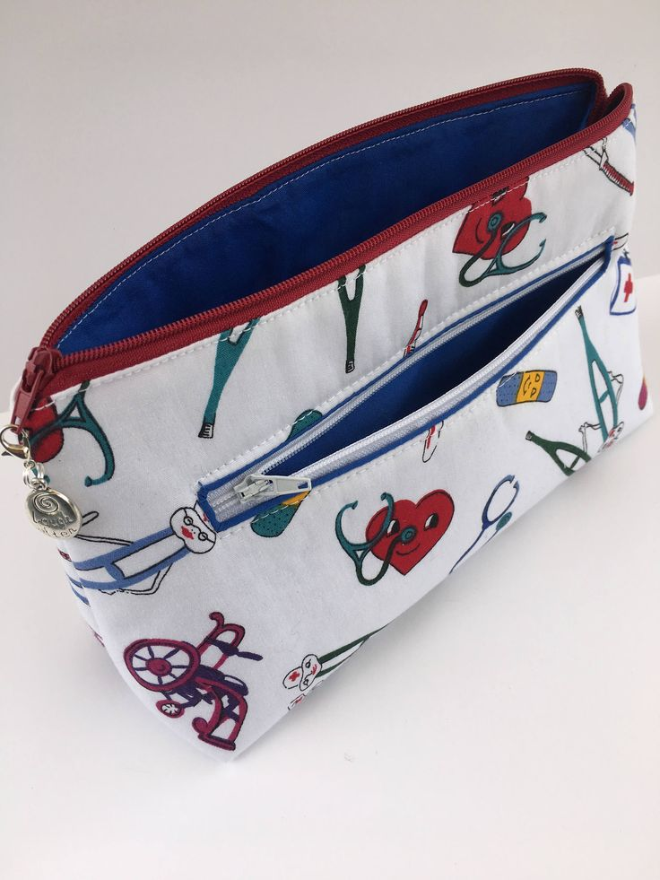 Makeup Bag, First Aid Bag, Cosmetic Pouch Bag, Medical Designs, Nurse Gift by SunnyDayCharm on Etsy