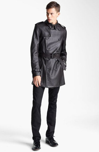 Black Leather Trench Coat Men | Burberry Belted Leather Trench Coat in Black for Men - Lyst