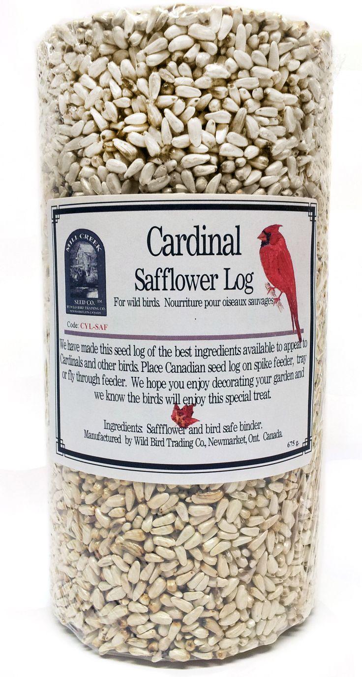 "CYL-SAF   675 g minimum  Cardinal Friendly™ Safflower log with centre hole.  Measures 7 1/2"" x 4"" diameter"