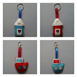 Beach Hut and Boat Bag Charms and Keyrings