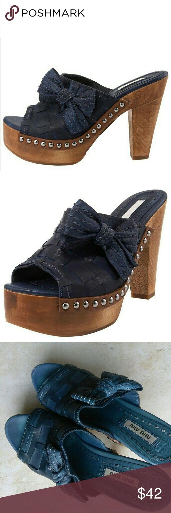 Miu Miu Leather Criss Cross Peeptoe Mule Clog Retails $320+• Used Miu Miu Leather Criss Cross Peeptoe Mule Clogs with Bows super cute ! Can be repaired for any miu miu lovers 💕 I If they were my size I'd keep 💕😭😭😭 #miumiu Miu Miu Shoes Mules & Clogs