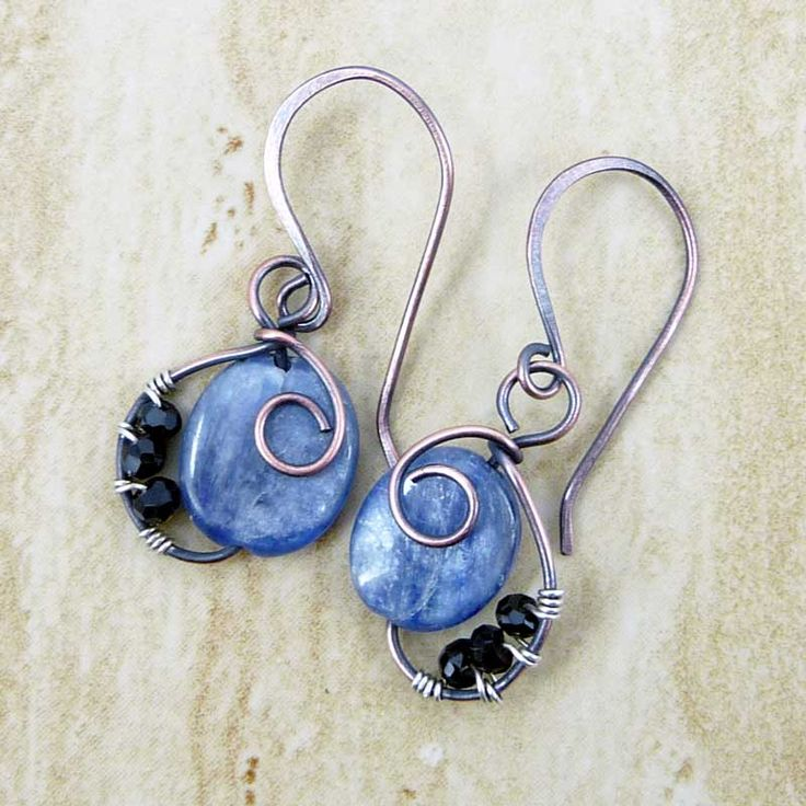 images of wire wrapped jewelry | ... wire-wrapped earrings with copper and silver wire, kyanite and black