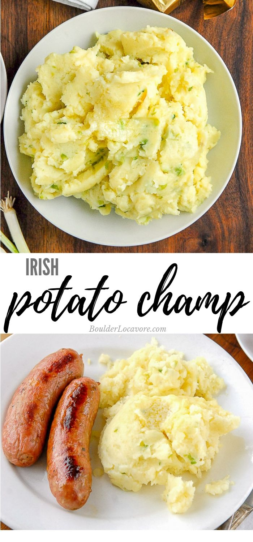 Irish Potato Champ Is An Authentic Irish Potato Recipe For Buttery Mashed Potatoes And Scallions Irish Recipes Authentic Potato Recipes Buttery Mashed Potatoes