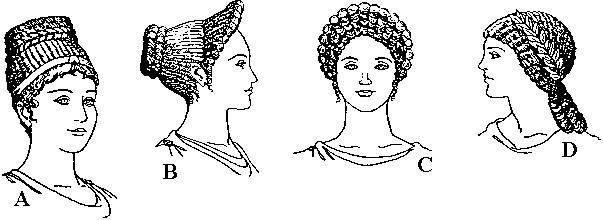 Acconciature femminili in epoca romana con trecce e riccioli