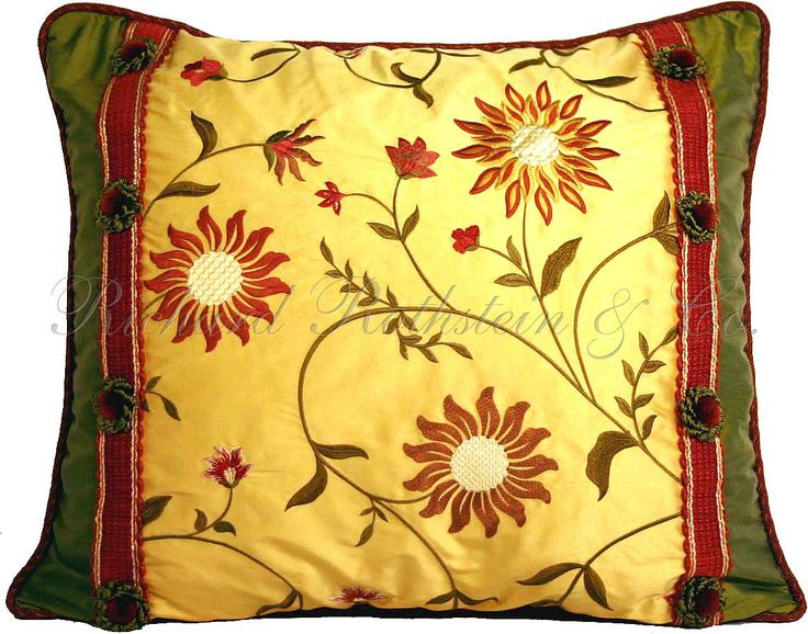 Yellow Silk Decorative Pillows : Floral Pillows Yellow Floral Silk Pillow Designer Accent Pillows PILLOW FIGHTS ALLOWED ...
