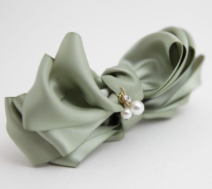 Handmade Glossy Satin Ribbon Bow Fabric Flower Banana Hair Clip  Accessories #Handmade