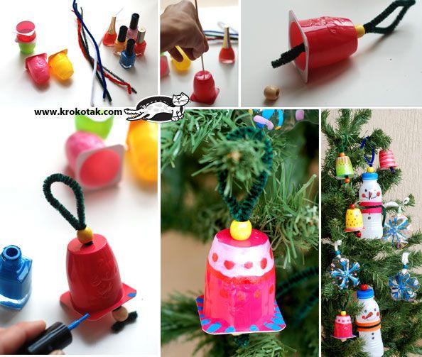 Коледни играчки от отпадъчни материали - én mondjuk akril festékkel csinálnám, de a körömlakk is remek rá :)