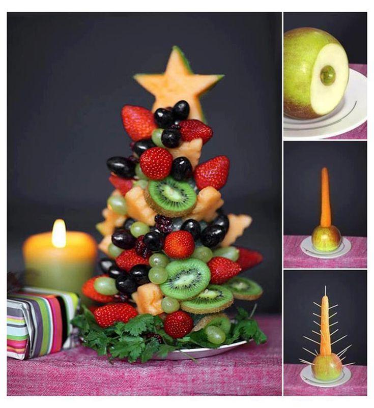 Kindertraktaties: Kerstboom van fruit