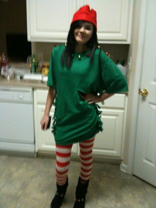 Homemade Christmas party outfit. Stockings- $2.00 Tshirt - $5.00   Cut slits in the sides of the t shirt, tie em together sew some bells. And your own little touch and walla! Cute little elf outfit.