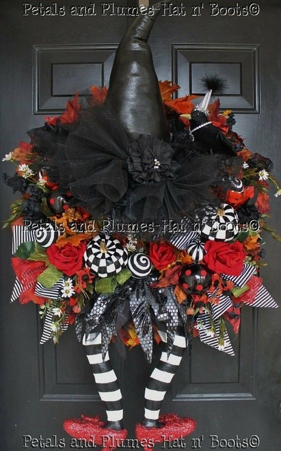 Halloween Wreath   -                                     Witch Wreath  -  WiCkEd WiTcH w/her Ruby Red Slippers   Follow us on Facebook: