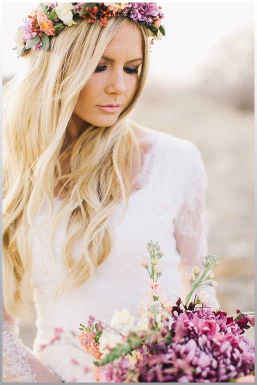 Wedding Flowers, Wedding Hair  With Flower Crown.  11165: Some Combination for Wedding Hair with Flower