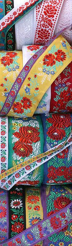 Authentic folkloric fabric jacquard ribbon trims from the Czech & Slovak Republics.  (lbk)