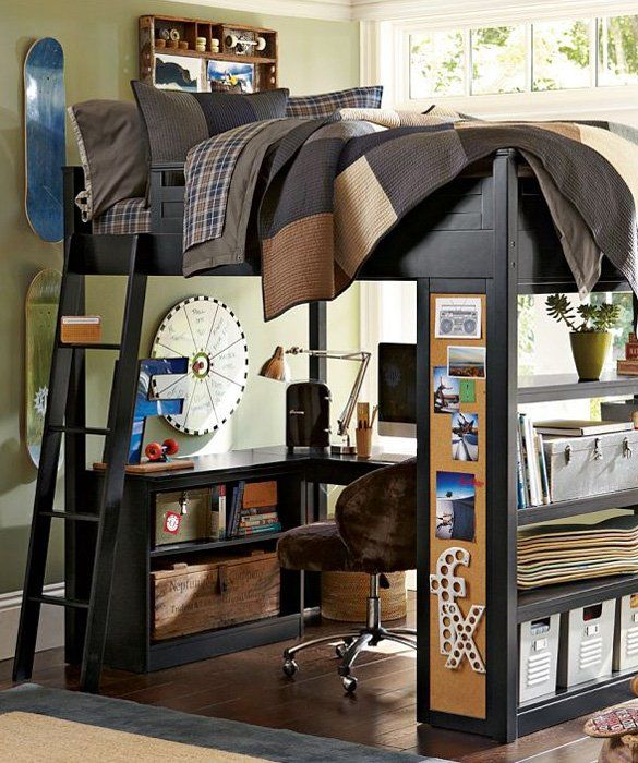 PB Sleep   Study Loft this is so cool for a small, tiny room, what kid wouldn't want this?