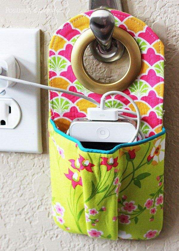 DIY Fabric Phone Charging Station. Get the tutorial