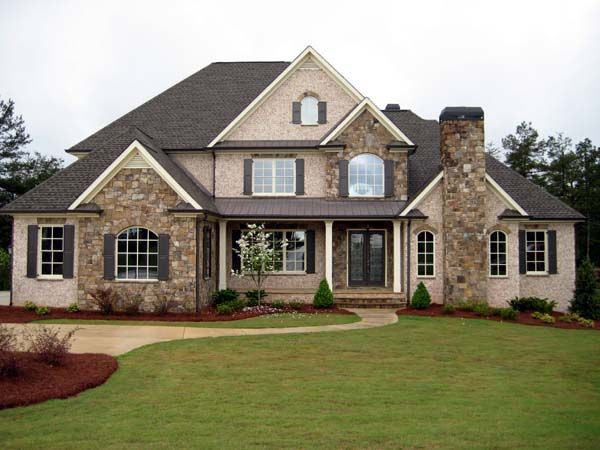 European house plan 50250 3 car garage exterior colors for Three family house plans