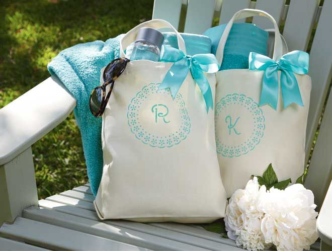 Make your mark on the big day with personalized monogrammed totes. They're the perfect carryall for wedding day necessities, and the perfect gift for the modern bridesmaid.