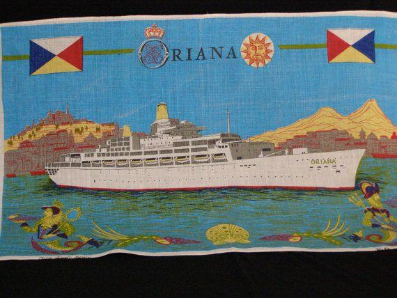 Souvenir Tea Towel P O Cruise Ship Oriana Irish Linen By Parkie - Cruise ship ireland