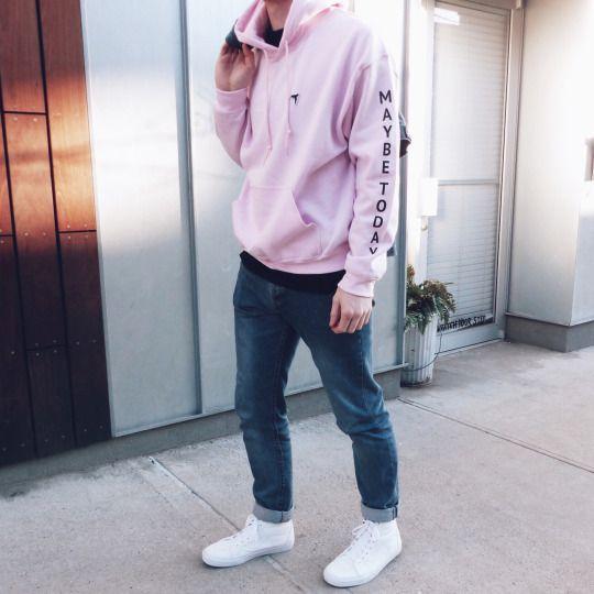 Pink Hoodie. Men's style