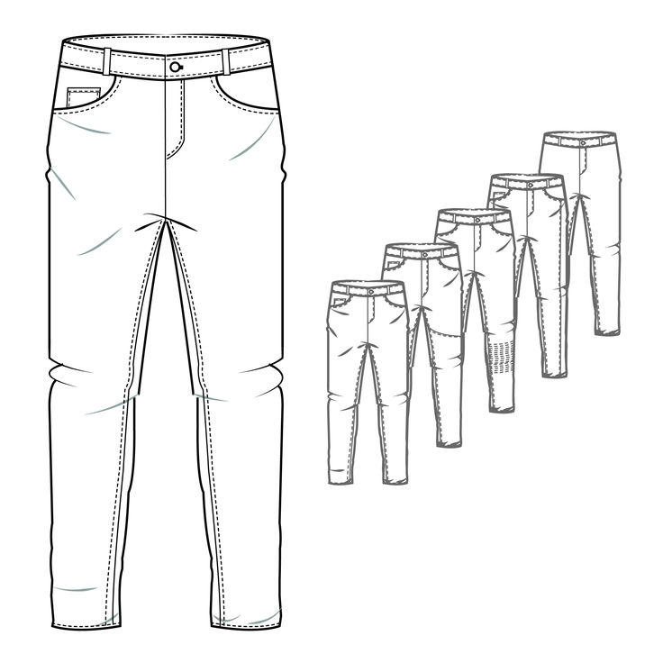 Men's Denim Jeans Style Trouser Technical Drawing