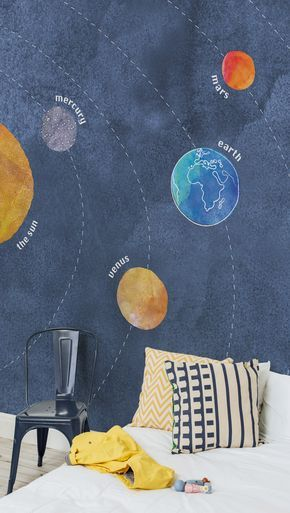 On the lookout for out of this world space murals? These simply adorable solar system wallpaper is perfect for kid's rooms and playrooms. The blue watercolour backdrop makes it stylish and brings a contemporary edge to your home.