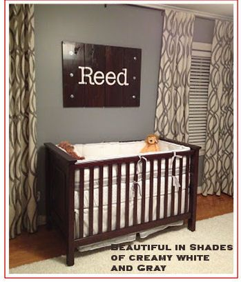 Modern cream-y antique white  and #gray #nursery room with custom #baby boy name on the #wall.