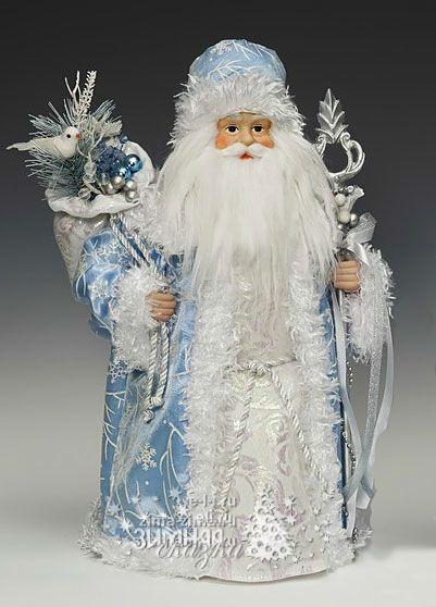 Игрушка под елку Дед Мороз в голубой шубе, 40,5 см  купить в интернет магазине Зимняя Сказка Eli.ru