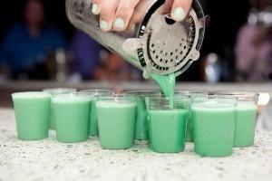 Dirty Girl Scout  Ingredients:    1 oz Vodka  1 oz Kahlua coffee liqueur  1 oz Irish cream  1 oz White Creme de Menthe  Mix the vodka, Kahlua and Irish cream and pour over ice. Pour the creme de menthe down the center of the glass. Serve.