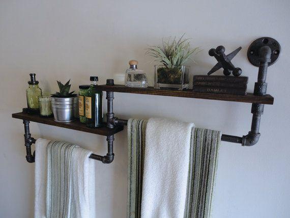 Industrial Bathroom Towel Rack & Toilet Paper by Mobeedesigns